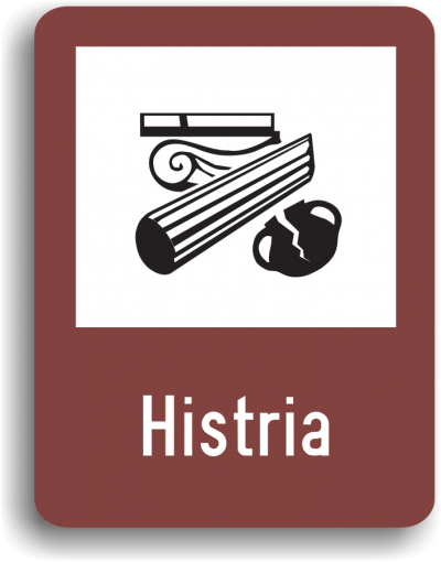 Indicator rutier de informare turistică T2 Vestigii istorice