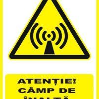 """Indicator de securitate de avertizare """"Atentie Camp de inalta frecventa"""""""