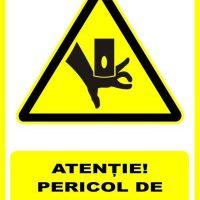 """Indicator de securitate de avertizare """"Atentie Pericol de strivire a mainilor"""""""