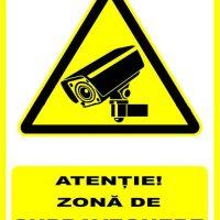 """Indicator de securitate de avertizare """"Atentie Zona de supraveghere video"""""""