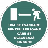 """Indicator de securitate de prim ajutor """"Usa de evacuare pentru persoane care se evacueaza singure"""""""