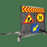 Cărucior portsemnalizare pentru punctele de lucru mobile