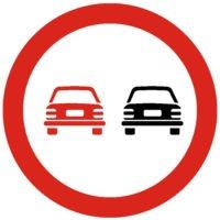Indicator rutier interzicere sau restrictie Depasirea autovehiculelor cu exceptia motocicletelor fara atas