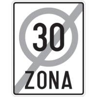 Indicator rutier interzicere sau restrictie C45 Sfarsitul zonei cu viteza limitata la 30 km/h