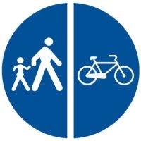 Indicator rutier obligare Delimitarea pistelor pentru pietoni si biciclete D 12