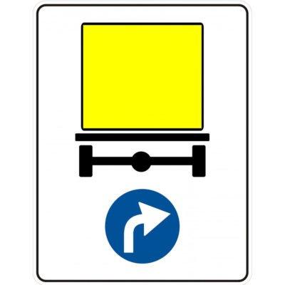 Indicator rutier obligare Directia obligatorie pentru vehiculele care transporta marfuri periculoase D 17